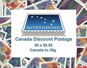Canada Discount Postage. Cheap Stamps for your letter mail. 50 x $.92