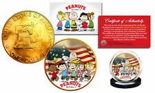 1976 PEANUTS Charlie Brown 24K Gold Plated IKE Dollar US Coin * Betsy Ross Flag