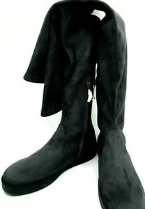 Stuart Weitzman NEW Slate Gray Suede Over Knee OTK Flat Boots US 10 Med $798