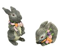 Set of 2 Realistic Bunny Rabbit Figurines Gray Resin Easter Decoration Flowers