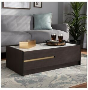 BAXTON STUDIO DARK BROWN & GOLD FINISHED WOOD COFFEE TABLE WITH FAUX MARBLE TOP