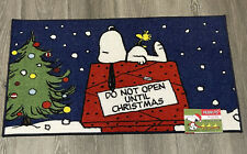 Peanuts Gang Snoopy Do. It Open Until Christmas Accent Rug 20x32 Holidays New