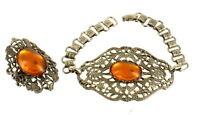 "Book Chain Amber Glass Vintage Victorian Revival Filigree Cab Bracelet & Ring 7"""