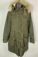 WOMENS H&M SIZE SMALL KHAKI GREEN WINTER ZIP UP PARKA PARKER COAT WITH FUR HOOD