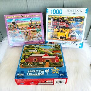 Lot 3 Hometown Americana Collection Puzzles 1000 500 Heronim Amish Train Country