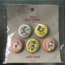 Disney Mickey Mouse Button Pins   By Junk Food   Set 2   New/Sealed   Ships Free