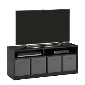 """Mainstays 4 Cube TV Console for TVs Up to 59"""", True Black Oak"""