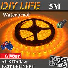 Waterproof 12V 5M Amber Yellow 5050 SMD 300 LED Strips Led Strip Lights boat FC