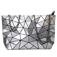Women Geometric Shoulder Bag Handbag Purse Messenger Tote Satchel Bags - Silver