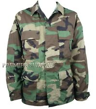 Genuine US Forces BDU Woodland Camo Shirt, New, Size Large Long