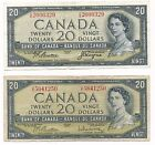 2 X 1954 $20.00 Bank of Canada CIRC Notes-One is Queen Elizabeth Devil Face-#748