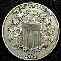 1882  Shield Nickel 5c USA Type Coin, Nice UNCIRCULATED Details. #1.9