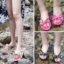 Women Flat Jelly Shoes Bow V Flip Flops Beach Rivets Slippers Thong Sandals Size