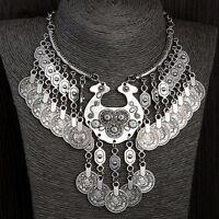 EG_ Women's Bohemian Vintage Coin Gypsy Chain Bib Choker Statement Necklace Prec