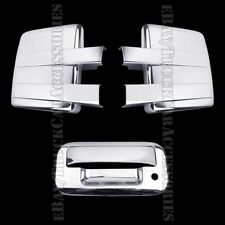 Chrome Covers For FORD F150 2009-2013 2014 Full Towing Mirrors +Tailgate Keyhole