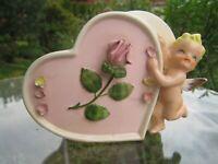 Vintage Valentine's Cupid Planter with rose  Japan J5296