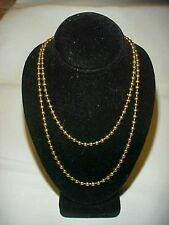 "VINTAGE JAPANESE SOLID BRASS BALL 3.5mm CHAIN 36"" ENDLESS NO CLASP NECKLACE R628"