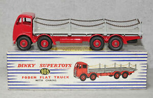 Dinky Toys 905 Foden Flat Truck With Chains Red Grey Nr Mint Boxed Original