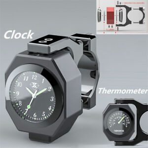 Black Aluminum Motorcycle Handlebar Watch Thermometer Time Clock Temp Night View