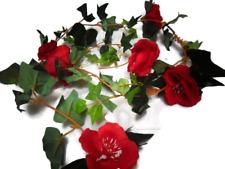 "artificial 5ft 11""poppy garland faux silk flower plants foliage leaf/vine decor"