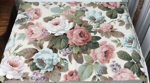 Vintage Sanderson 'Chelsea' Pink Roses Furnishing Cotton Fabric Remnant Crafts