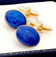 Stunning Vintage 1950s Lapis Lazuli Blue Glass Oval Gold Plated Cufflinks