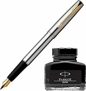Parker Frontier Steel GT Fountain Pen Fine Gold +Converter+Black Ink Bottle Free