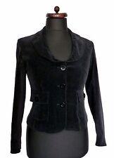 E-vie collection velours noir Blazer Jacket Steampunk Casual Formelle Ajustée 10 38