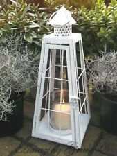 Vintage Style Antique White Metal Lantern Candle Holder Shabby Chic Garden Home