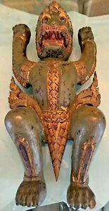 "Antique Garuda Wooden Statue/Wall-hanging- Handmade (approx 21""x11""x5"")"