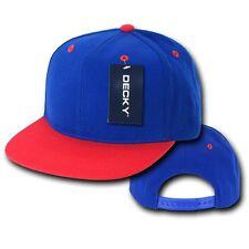 Royal Blue & Red Plain Solid Flat Bill Snapback Vintage Retro Baseball Cap Hat