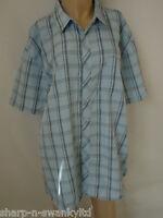 Hombre Nuevos Azul a cuadros camisa de manga corta top talla XXL 2xl