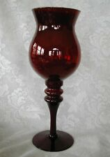 Collectible Very Tall Ruby Red Blown Glass Footed Hurricane Votive / Vase