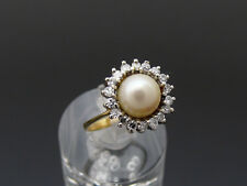 Exklusiver RING mit 0,36ct. DIAMANTEN & PERLE | 585er Gold