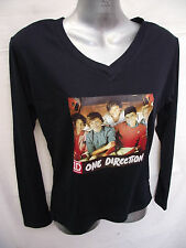 BNWOT Girls Sz 16 One Direction 1D Photo Navy Long Sleeve V Neck Stretch Top