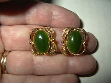 Pretty Vintage Artisan B.C. Natural Green Jade & Goldtone Oval Clip Earrings