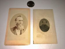 CDV Card & Colored Tintype Guy With Crazy Big Beard 2 Antique Images