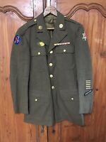 Vintage WWII Vietnam Era U.S. Army Dress Jacket With Patches Rank Pins Size 38 R
