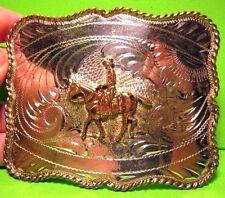 Old TROPHY BELT BUCKLE BK SOLID STERLING SILVER Front HORSE & RIDER FREE SHIP