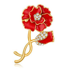 Gold Red Petals Poppies Poppy Flower Women Lady Brooch Coat  Christmas Pin BR434