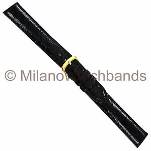 18mm Hadley Roma Black Genuine Selected Crocodile Stitched Watch Band XL MS2001