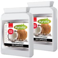 Biologico Olio di Cocco Pillole 1000mg Energia Sofgel UK Purvitz