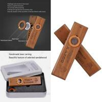 Mini Kazoo With Metal Case Wood Color Exquisite Accompaniment Musical Instrument