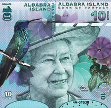 ALDABRA ISLAND 10 DOLLARS UNC 2018 FRONT AND BACK,SIDE TO SIDE FULL FACE QUE II