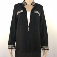 Chico's Size 2 Blazer Jacket Black Embellished Beads Beaded Sequins Long Sleeve