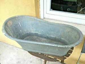 Antique Vintage Galvanized Kid Cowboy Bathtub Metal Tin Old West Wash Tub Bath