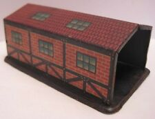 Old 1920s German Penny Toy Garage Building - Tin Lithograph