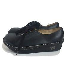 Alegria Lace Up Oxford Shoes Size 38 US 8 / 8.5 Black Leather Platform Wedge