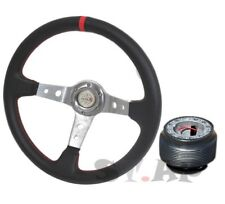Ford Mustang Deep Dish 350mm Racing Steering Wheel+Hub Adapter Chrome Black Red