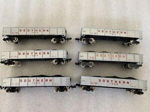 lot N Scale 6 -40'  SOUTHERN  Bachmann  Gondolas With Loads  metal wheels